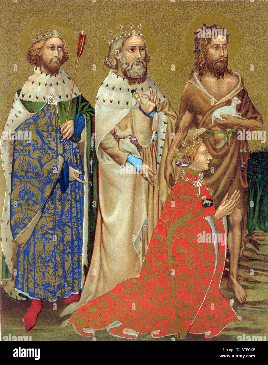 Richard II and his patron saints, John the Baptist, Edward the Confessor and Edmund King and Martyr; Colour Illustration - Stock Image