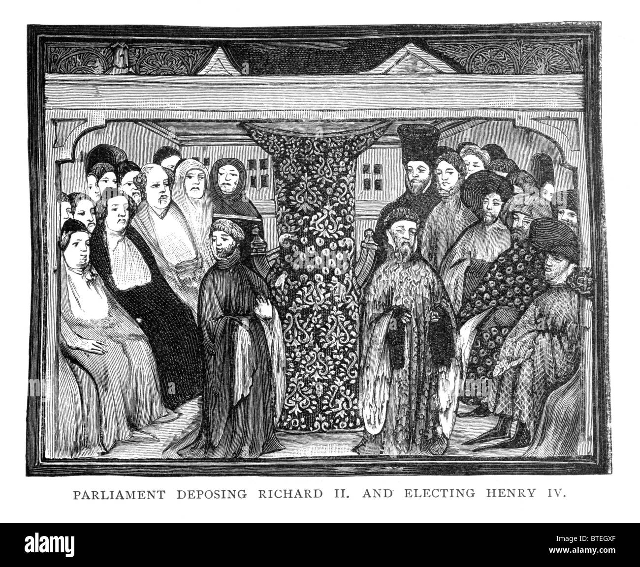 Parliament accepting the resignation of Richard II 30th September 1399; MS Harleian 1319; Black and White Illustration; - Stock Image