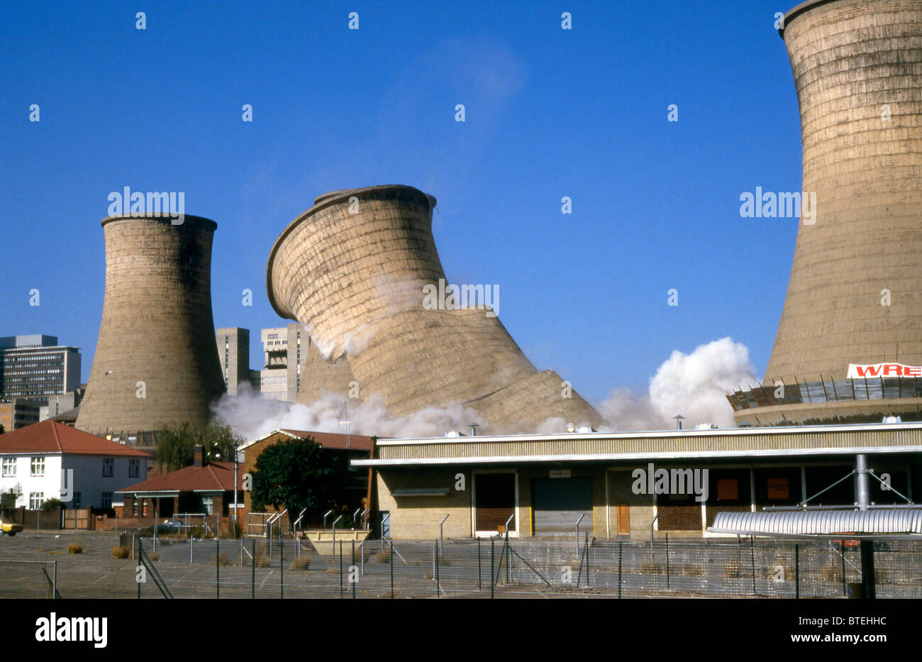 Demolition of cooling towers - Stock Image