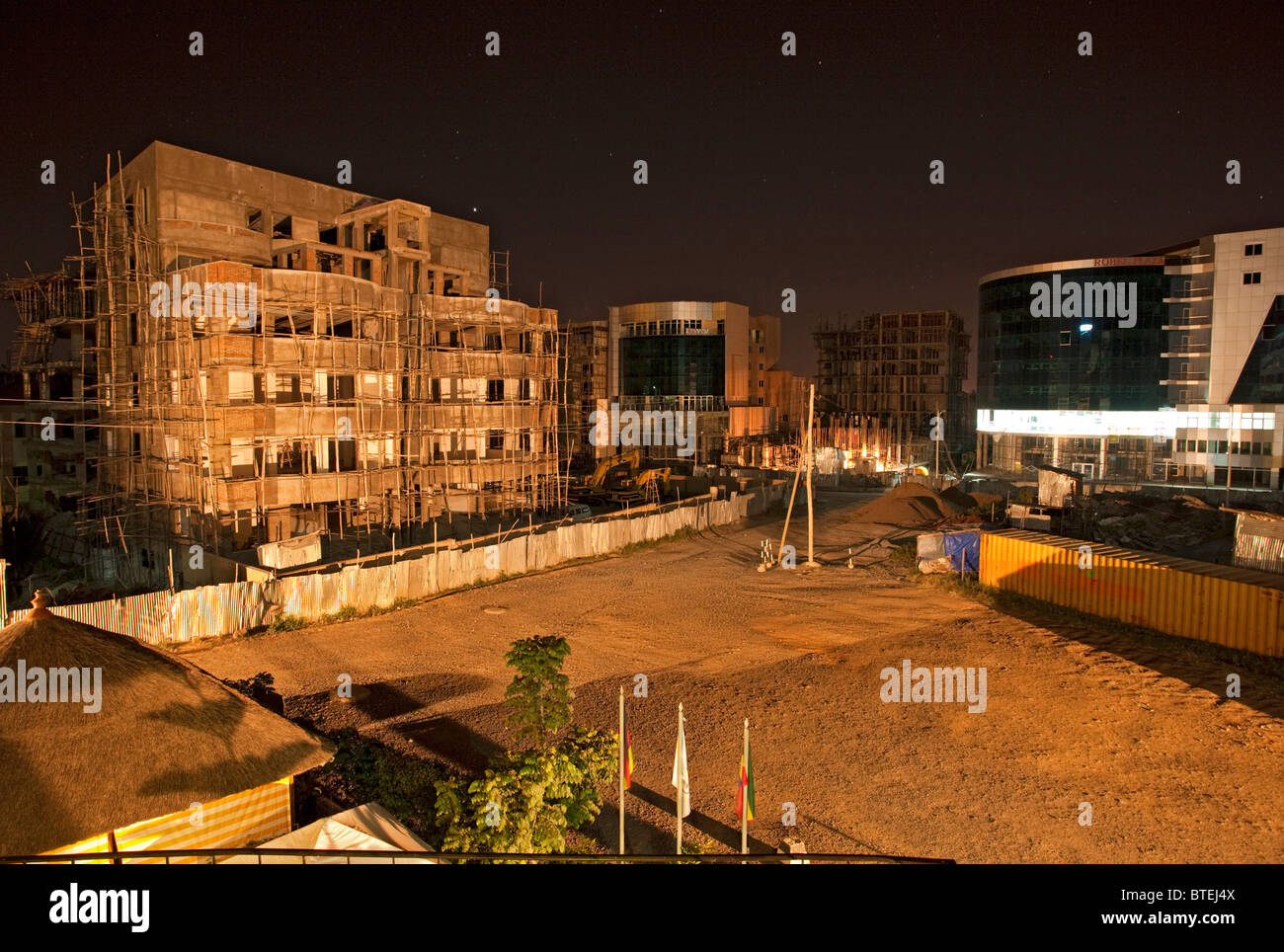 Construction work in Addis Ababa at night Stock Photo