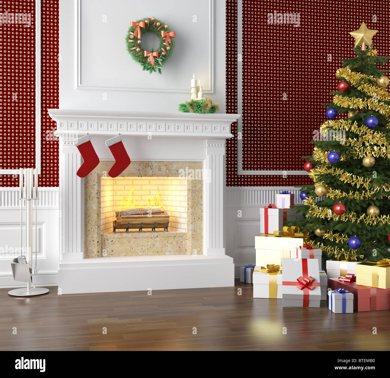 Fireplace In A Traditional Home Decorated For Christmas With Xmas