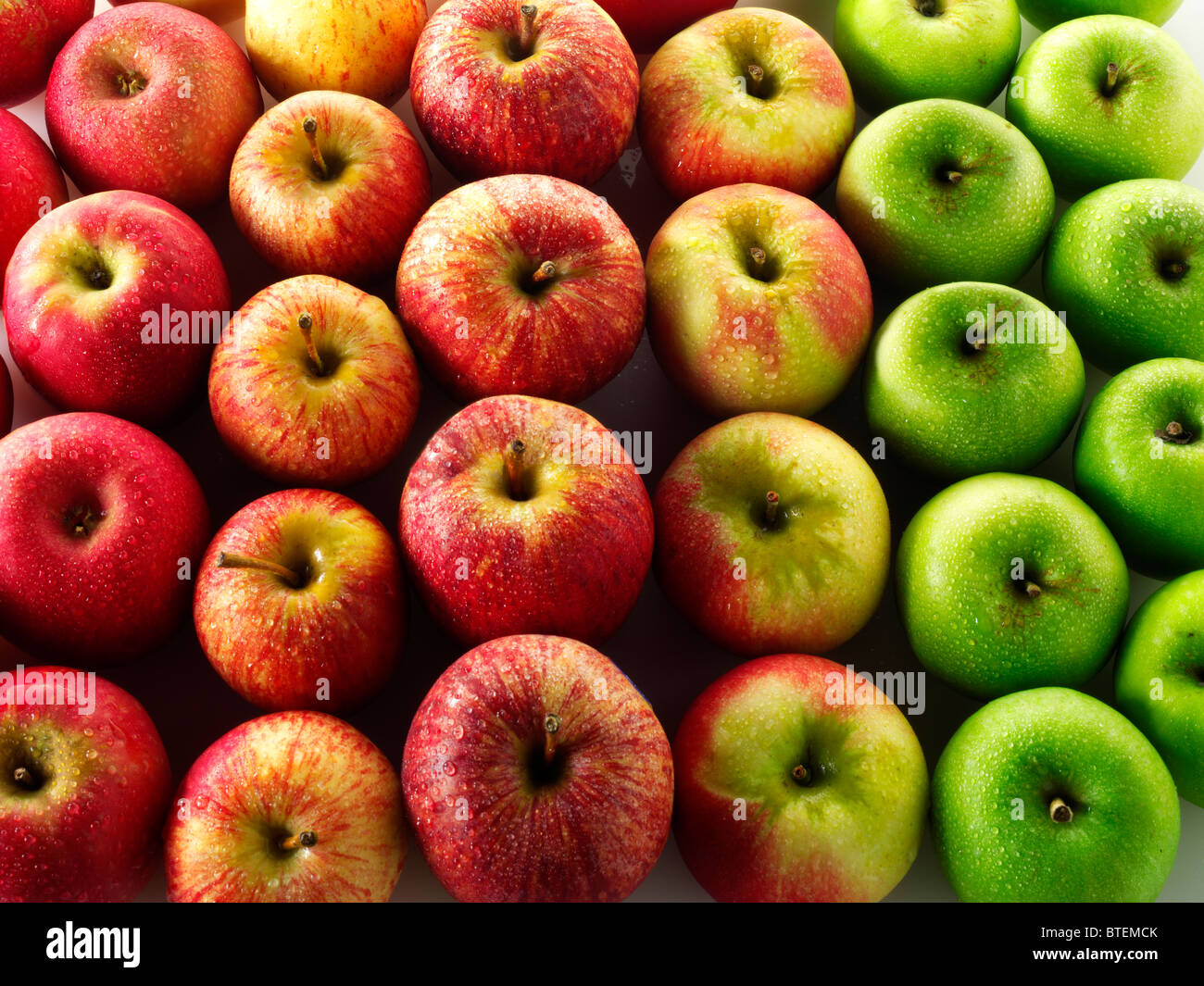 Fresh mixed apples - Stock Image