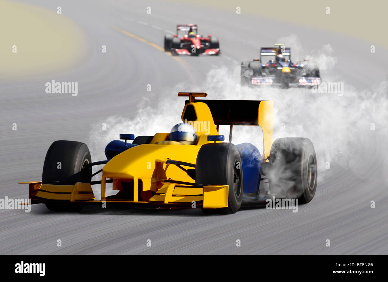 breakdown of formula one race car on speed track - Stock Image