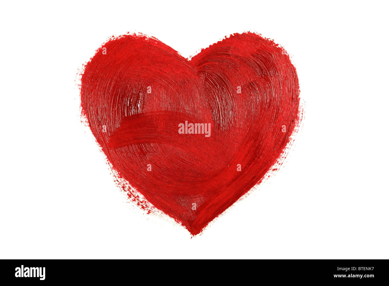 Painted red heart - Stock Image
