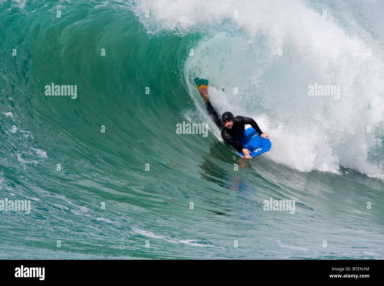Body Boarding at St Agnes, Cornwall, UK - Stock Image