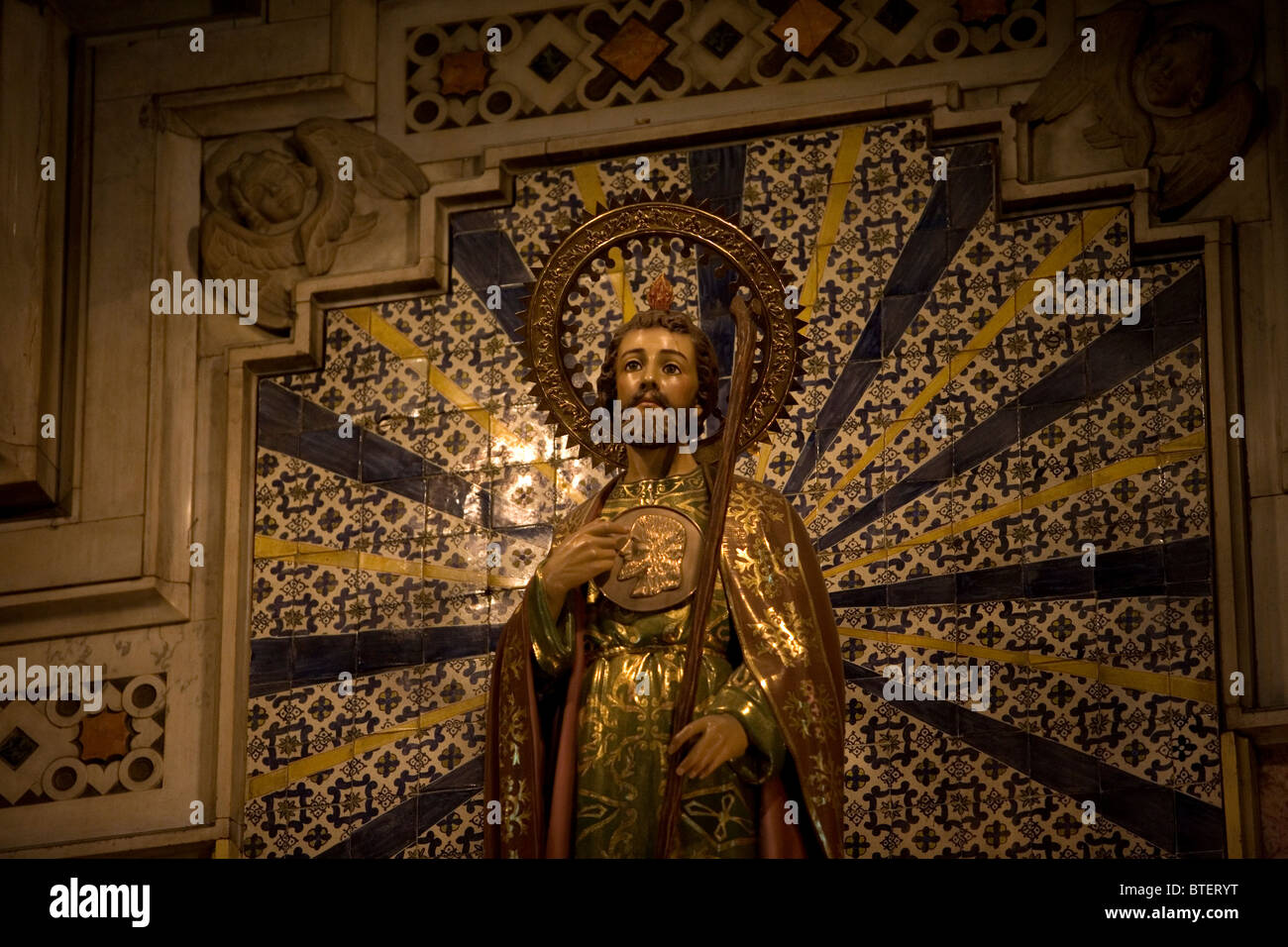 A sculpture of Saint Jude Thaddeus is displayed in the main altar of San Hipolito's church in Mexico City Stock Photo