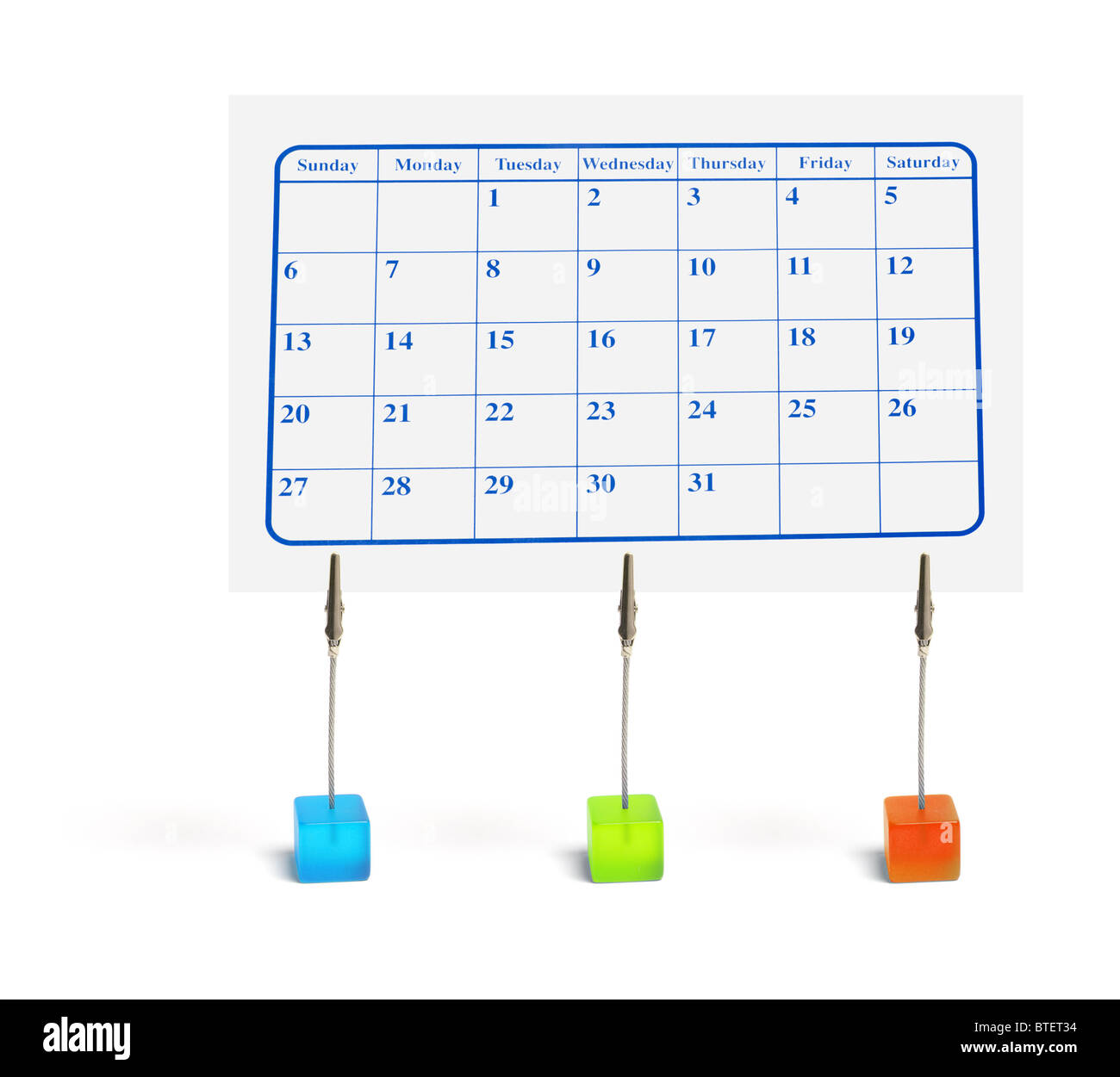 Calendar with Memo Clip Holders - Stock Image