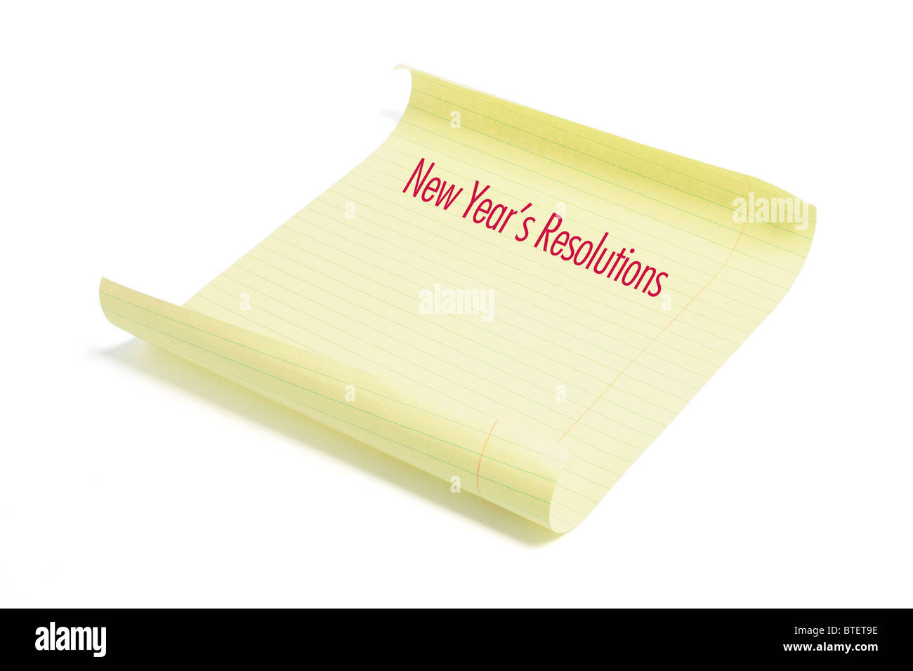 Paper with New Year's Resolutions - Stock Image