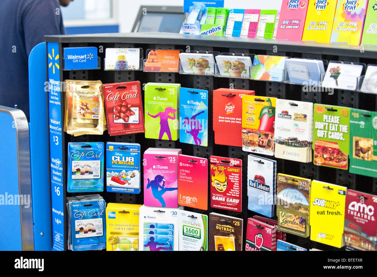 Large Selection Of Gift Cards On Display At Wal Mart Store In Austin