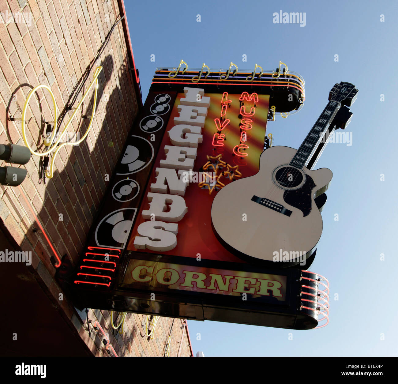 Neon sign for Legend s Corner, a bar featuring live music on Broadway, Nashville. - Stock Image