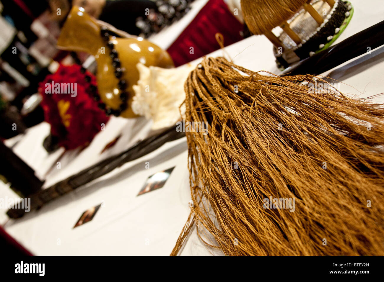 Samoan ritual tools, to be used when tattooing. - Stock Image