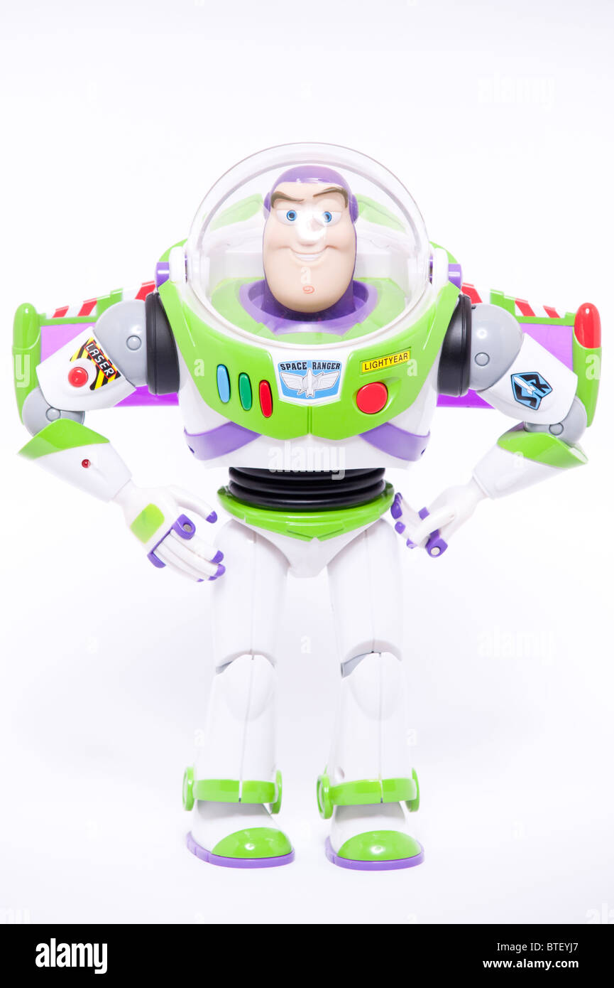 A close up photo of a childs toy Buzz Lightyear character from the Toy Story films against a white background - Stock Image