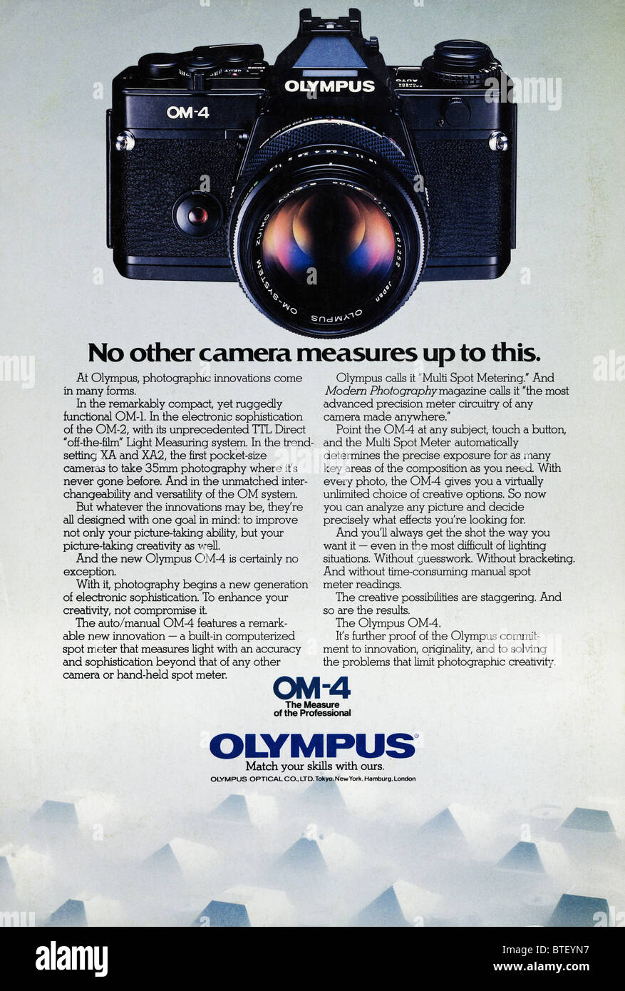 colour advertisement for olympus om 4 film camera in american stock