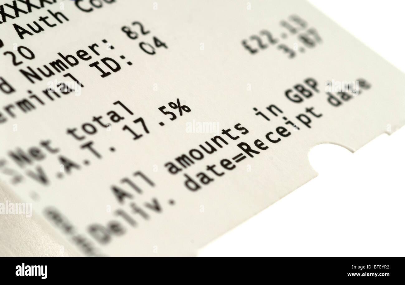 Vat Tax Receipt - Stock Image