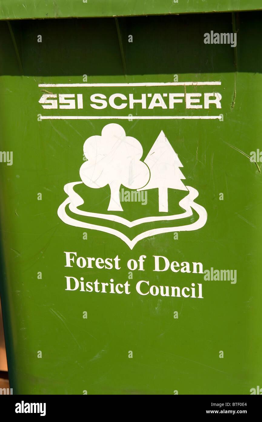 Forest of Dean District Council SSI Schafer Wheelie Bin - Stock Image