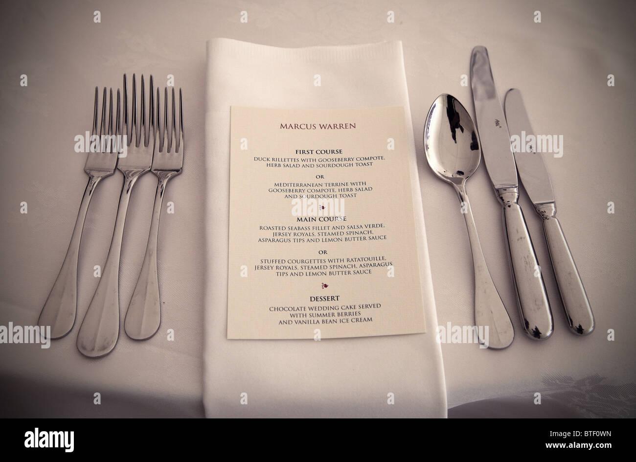 Wedding day menu - Stock Image