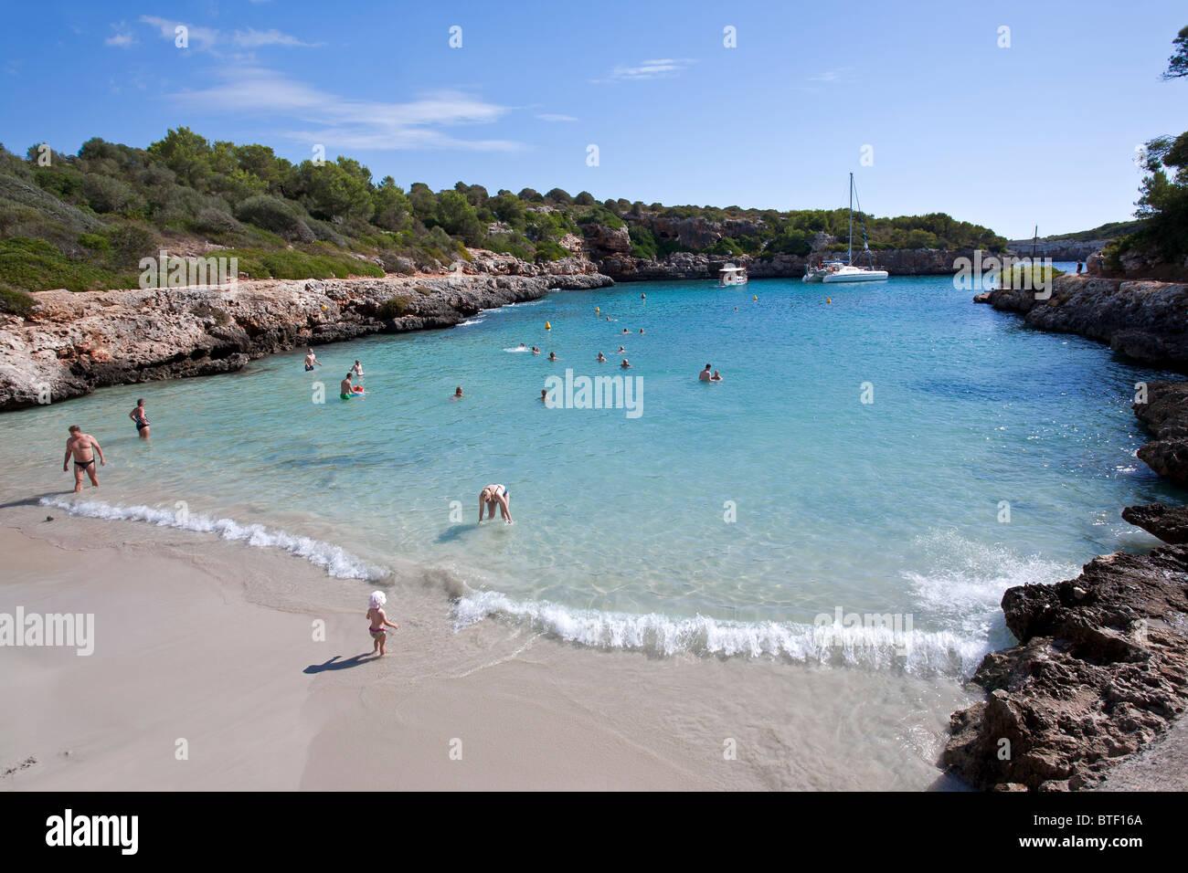 Cala Sa Nau beach. Felanitx. Mallorca Island. Spain - Stock Image