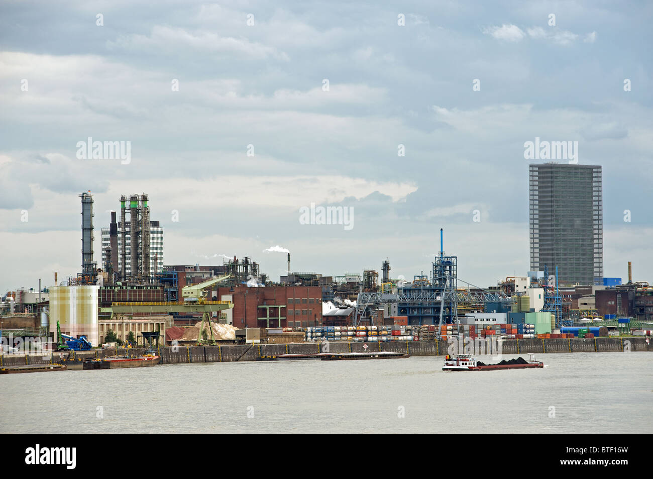 Bayer chemical works beside the river Rhine, Leverkusen, Germany. - Stock Image