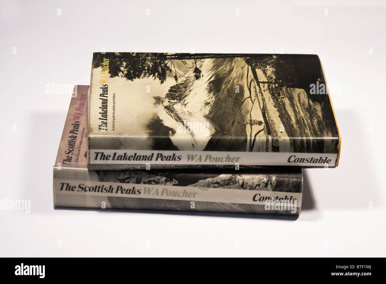 Old 'mountain guide' books by 'WA Poucher' - Stock Image