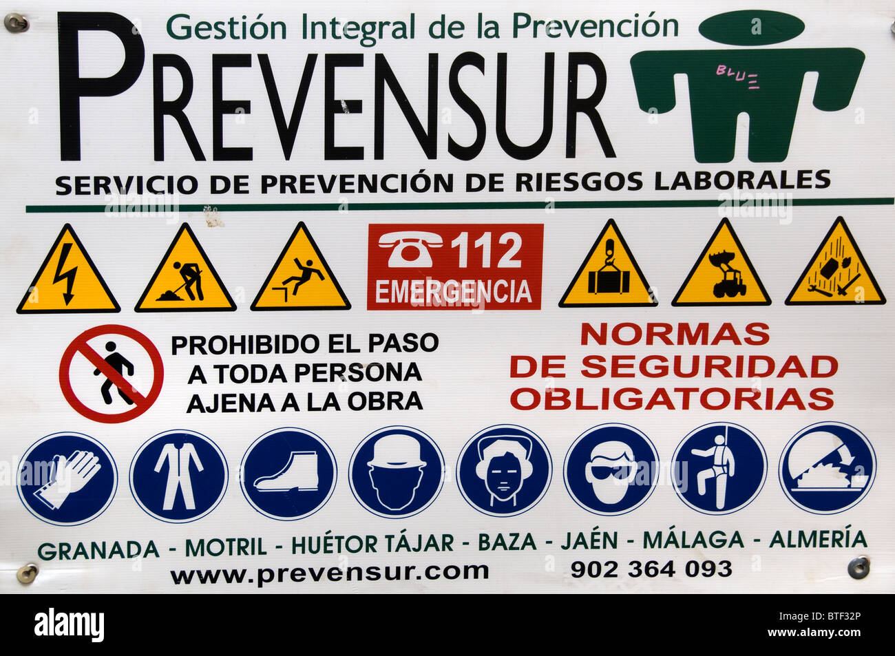 Granada Spain Andalusia Prevention site builders pay attention - Stock Image