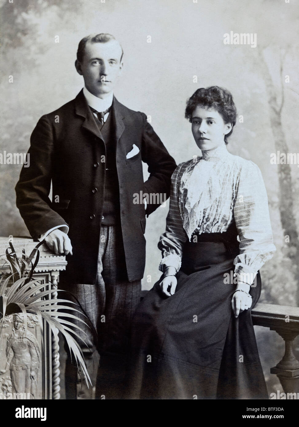 Victorian teachers John and Ann Blatchly circa 1875 formal studio portrait - Stock Image
