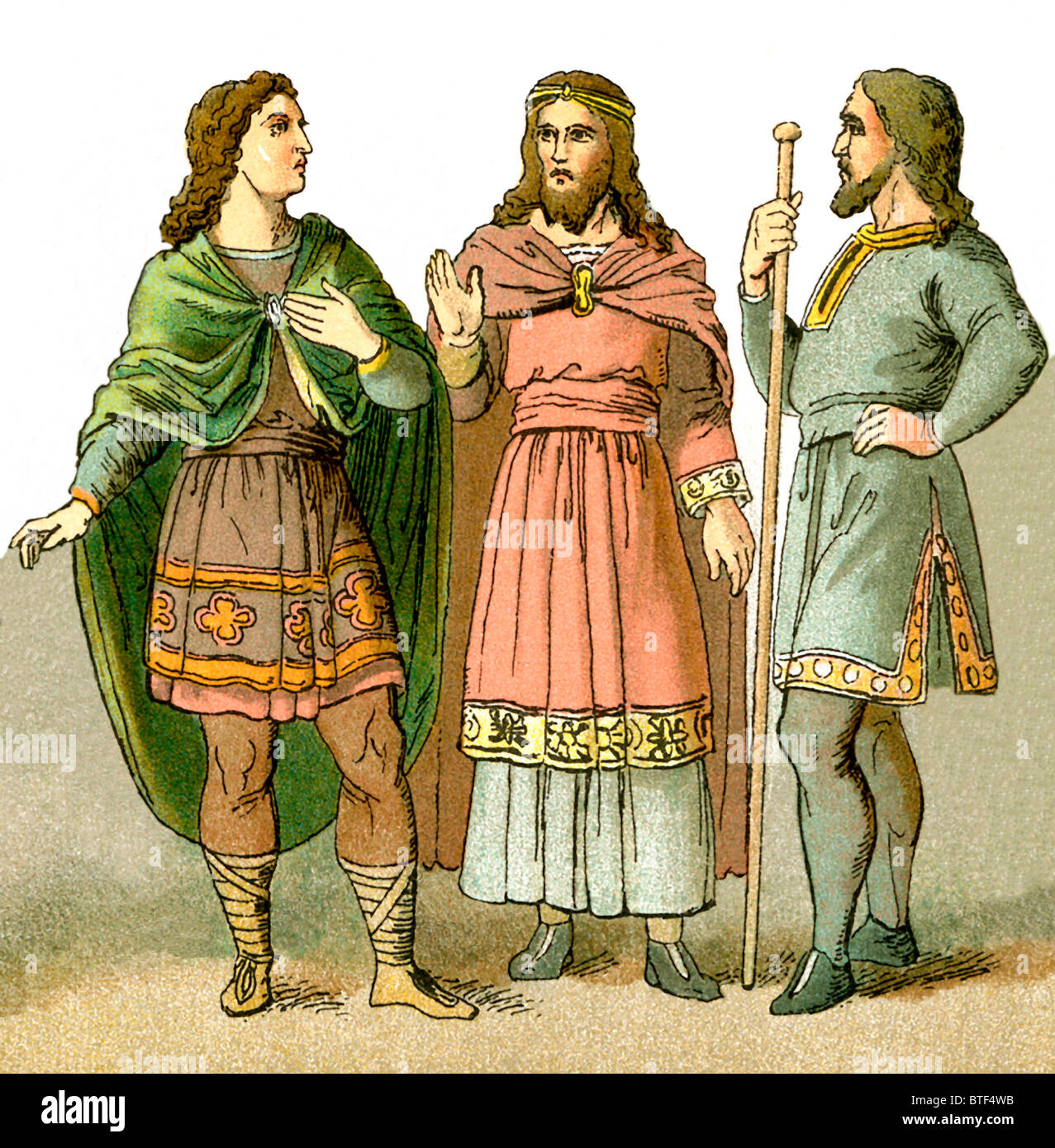 These Anglo-Saxon (Germanic-speaking people who settled in England)  figures represent three men of rank. - Stock Image