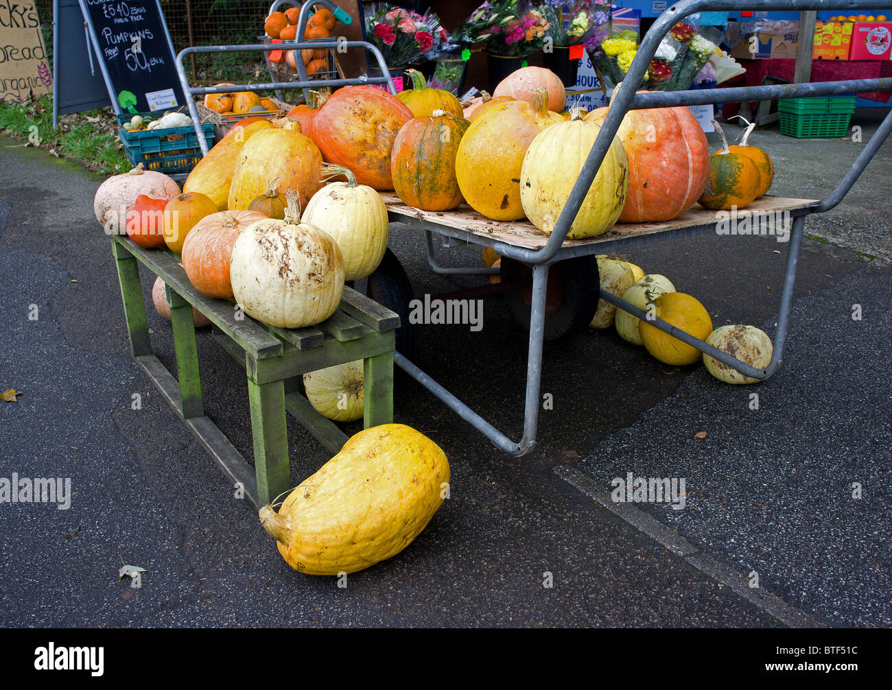 pumpkins for sale at a roadside stall, cornwall, uk - Stock Image