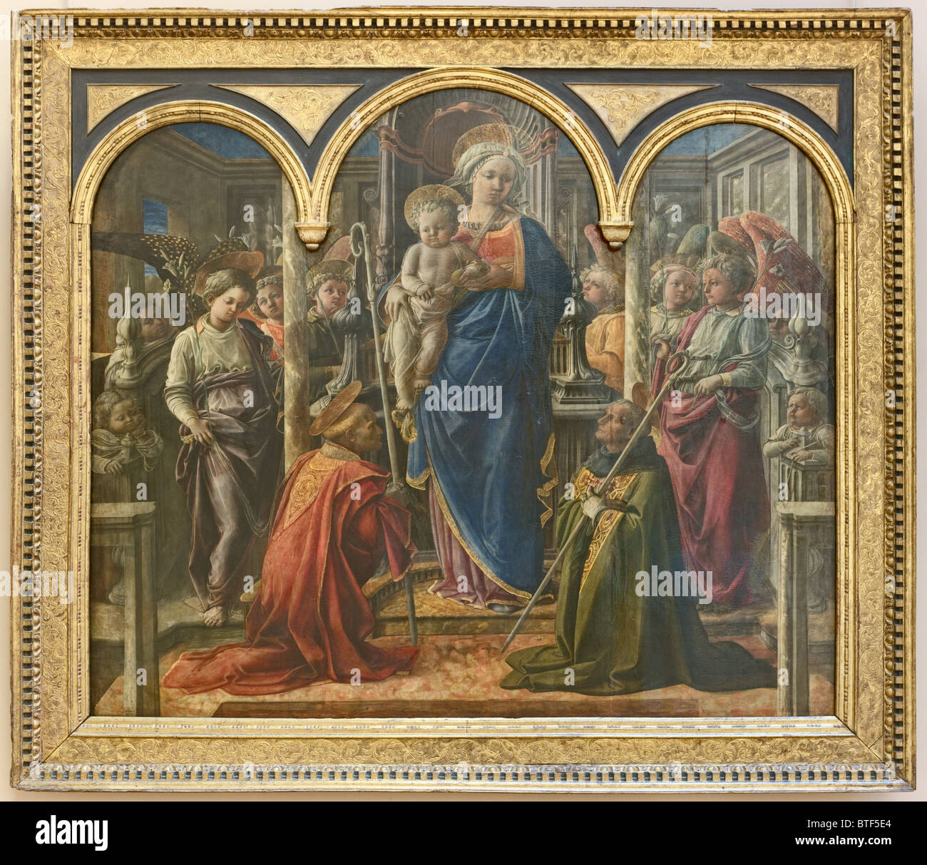 Virgin and Child with Saints Frediano and Augustine, known as the Barbadori Altarpiece, painting by Filippo LIPPI, - Stock Image