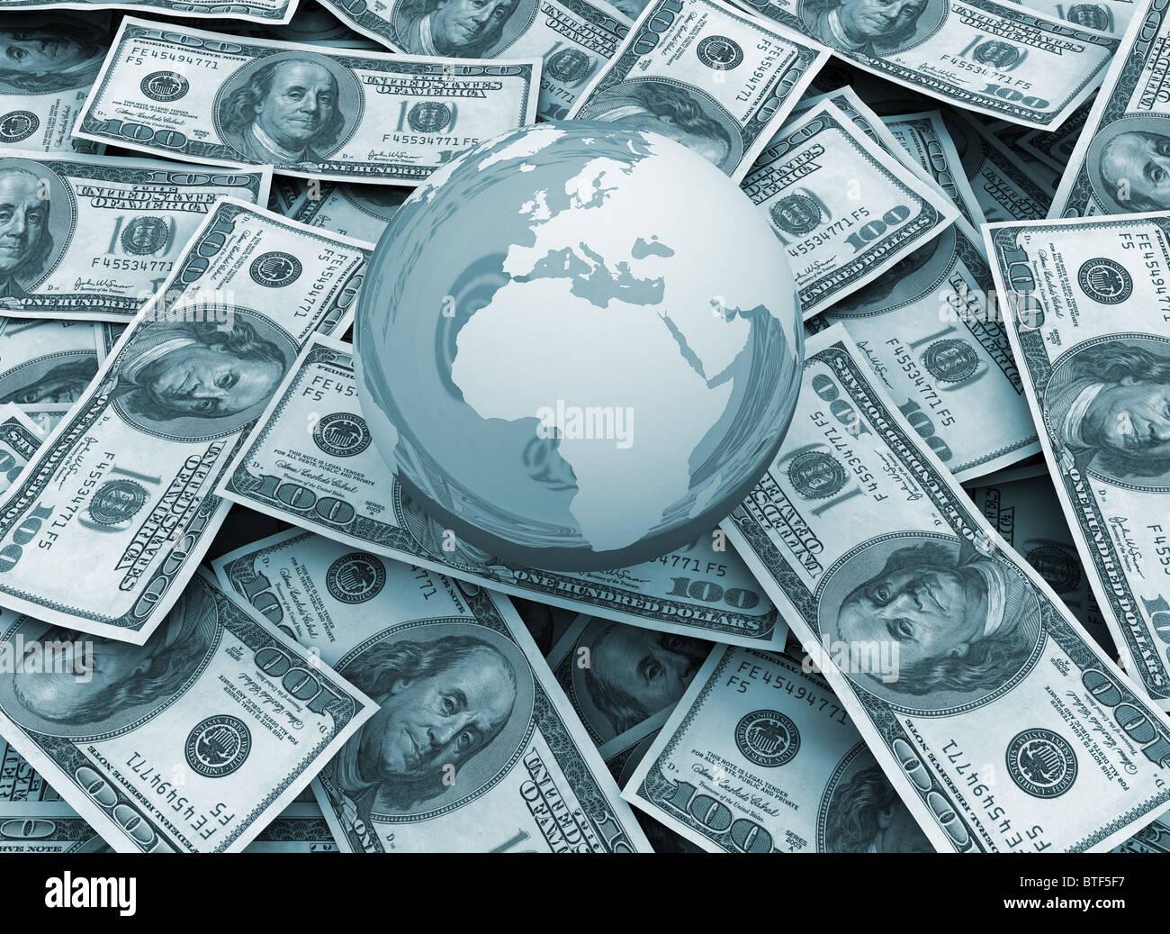 global economy Money background - Stock Image