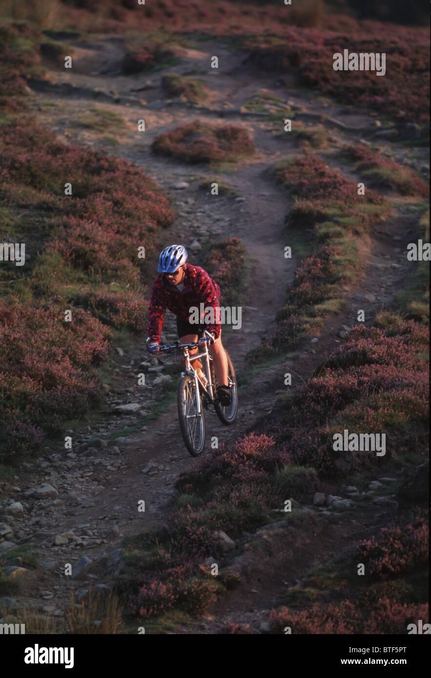 Mountain biking in the Peak District Stock Photo