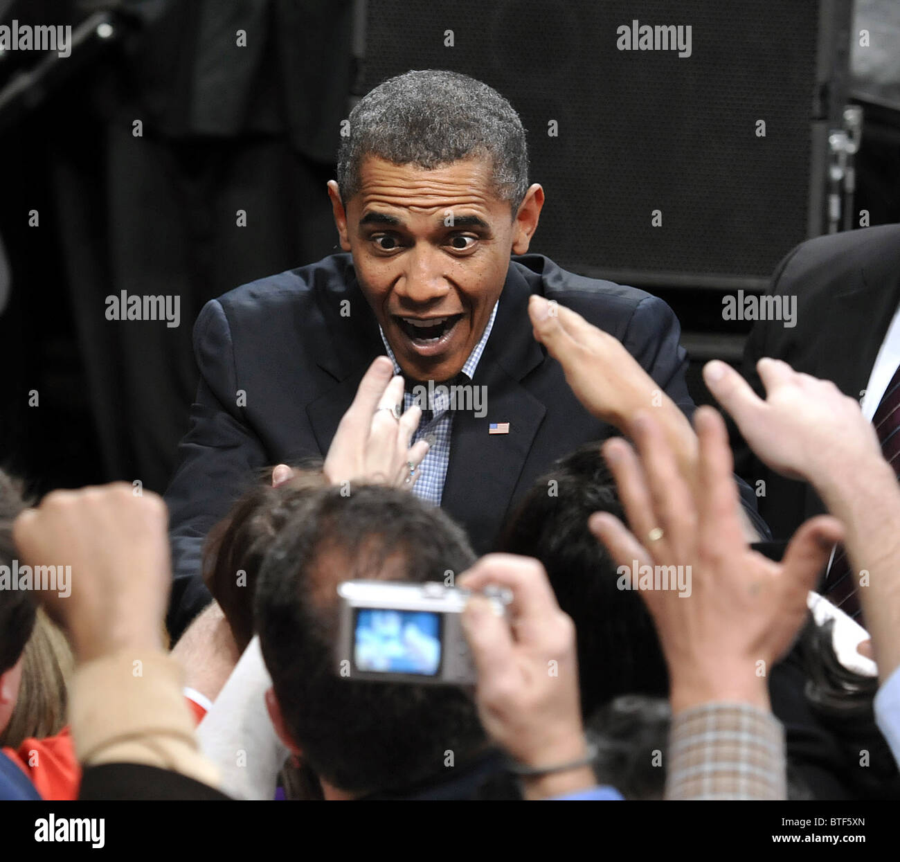 President Barack Obama works the crowd after speaking at a rally supporting Connecticut Democratic Candidates at - Stock Image