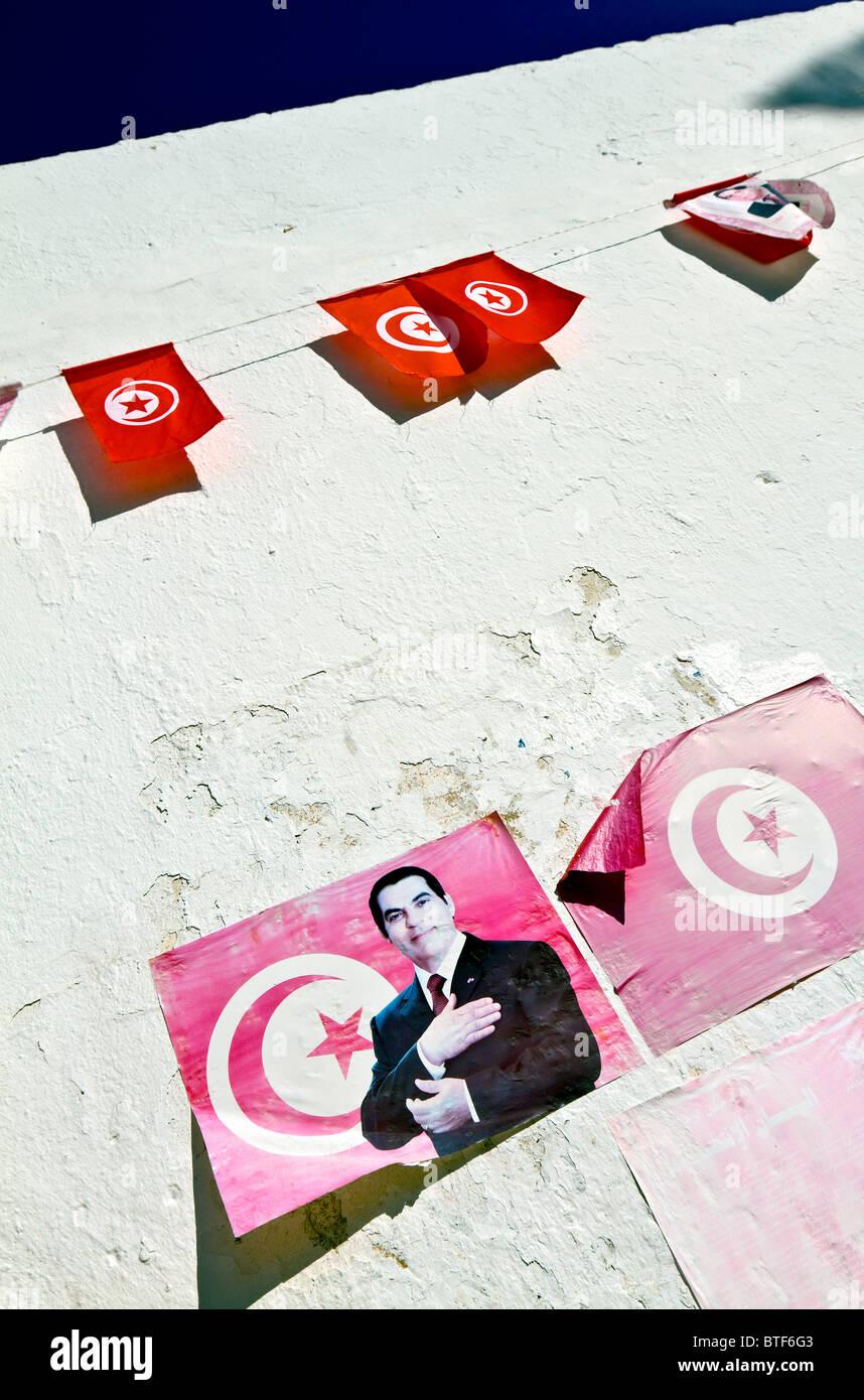 Tunisia, Tabarka, flags with portrait of the former President, Zine El Abidine Ben Ali. Stock Photo