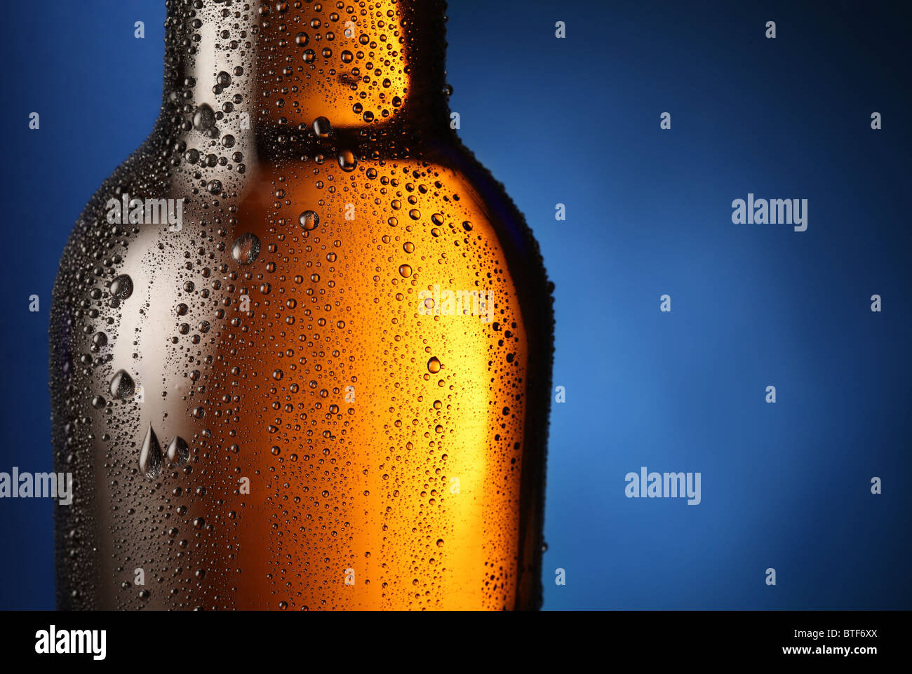 Bottle of beer with drops on a blue background. Close up part of the bottle. - Stock Image