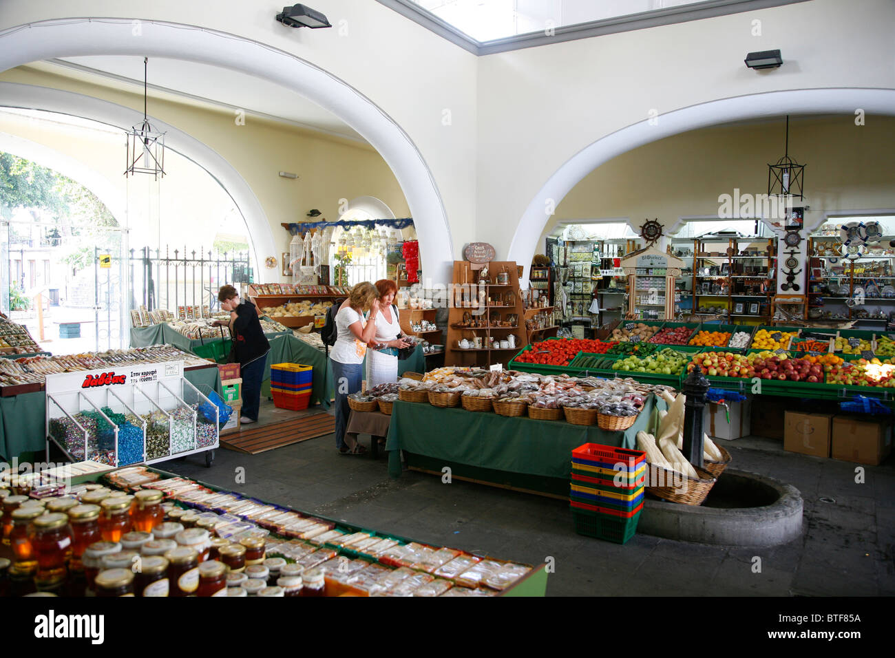 Fruits vegetables and spices at the central market in Kos Town, Kos, Greece.Stock Photo