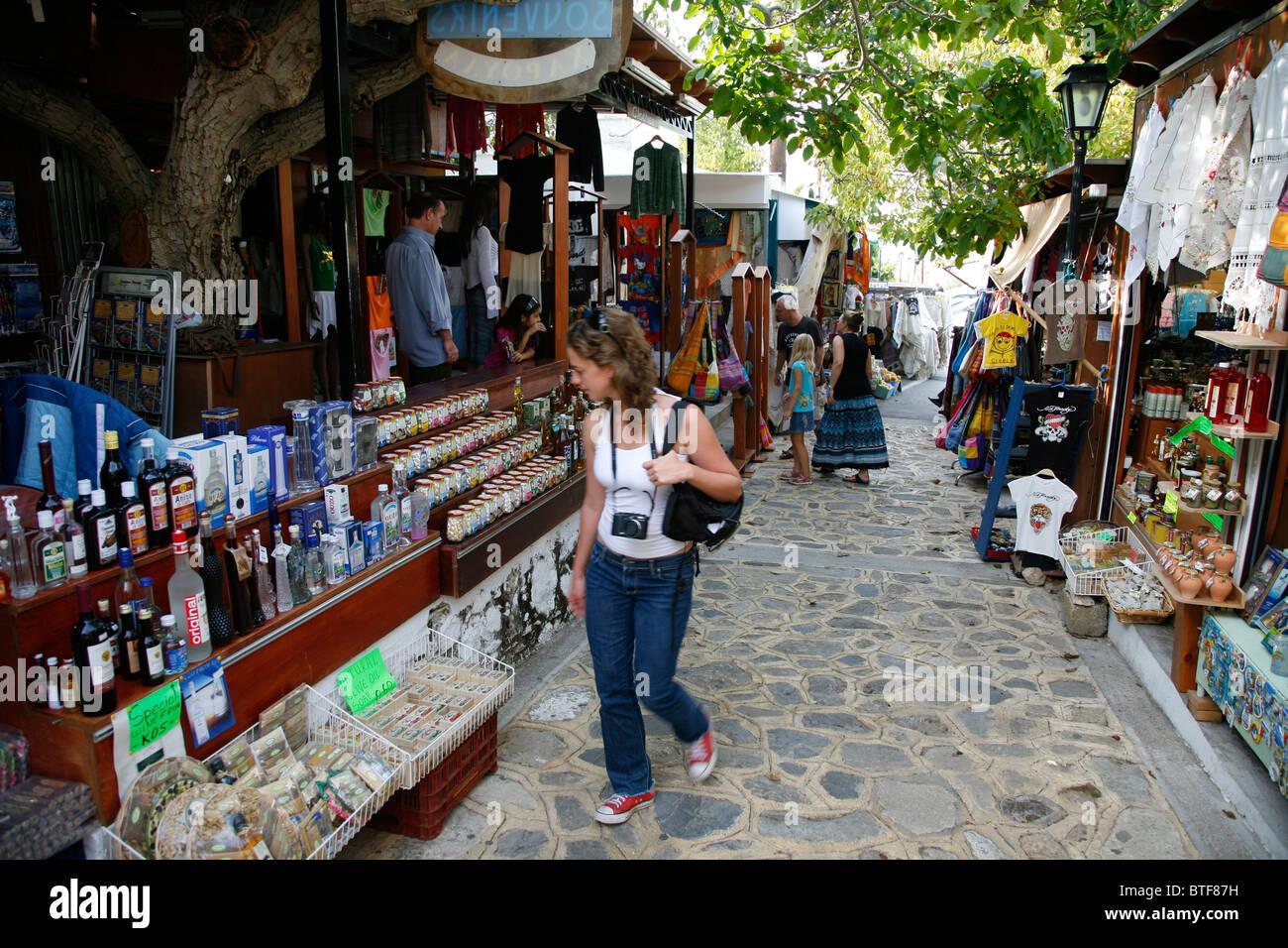 Market with souvenir shops, Zia, Kos, Greece. - Stock Image