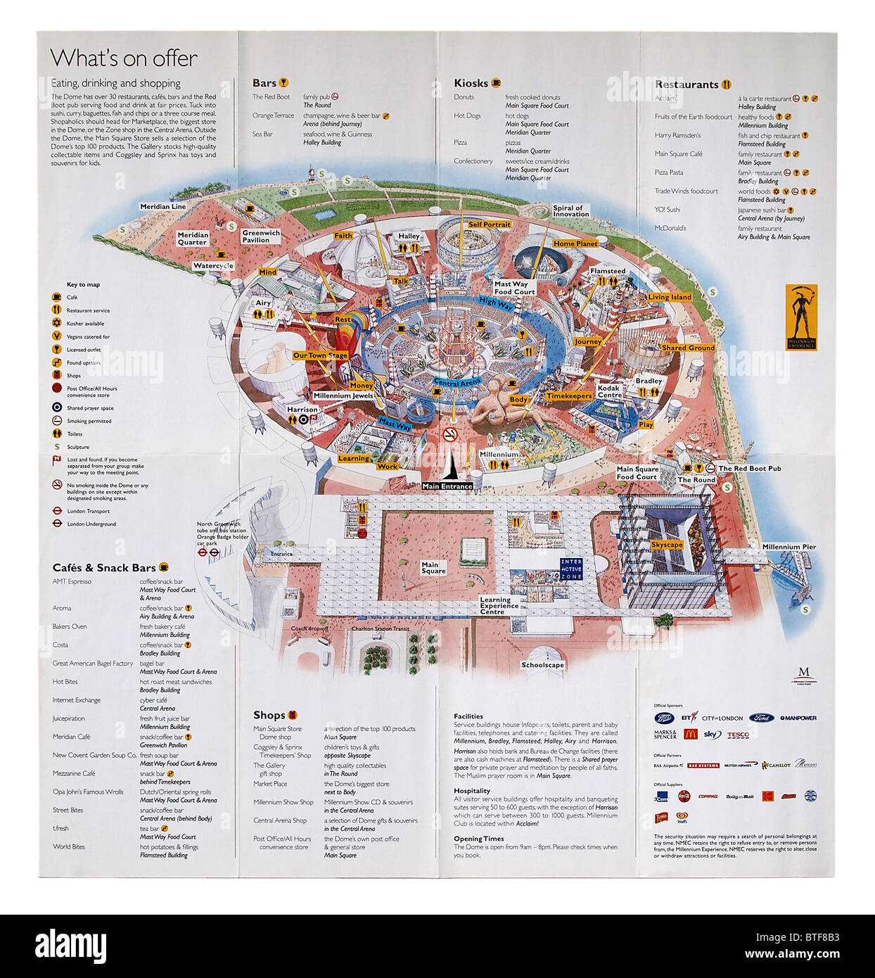 Fold-out plan of the Millennium Experience exhibition of 2000, The Dome, Greenwich, London, England - Stock Image