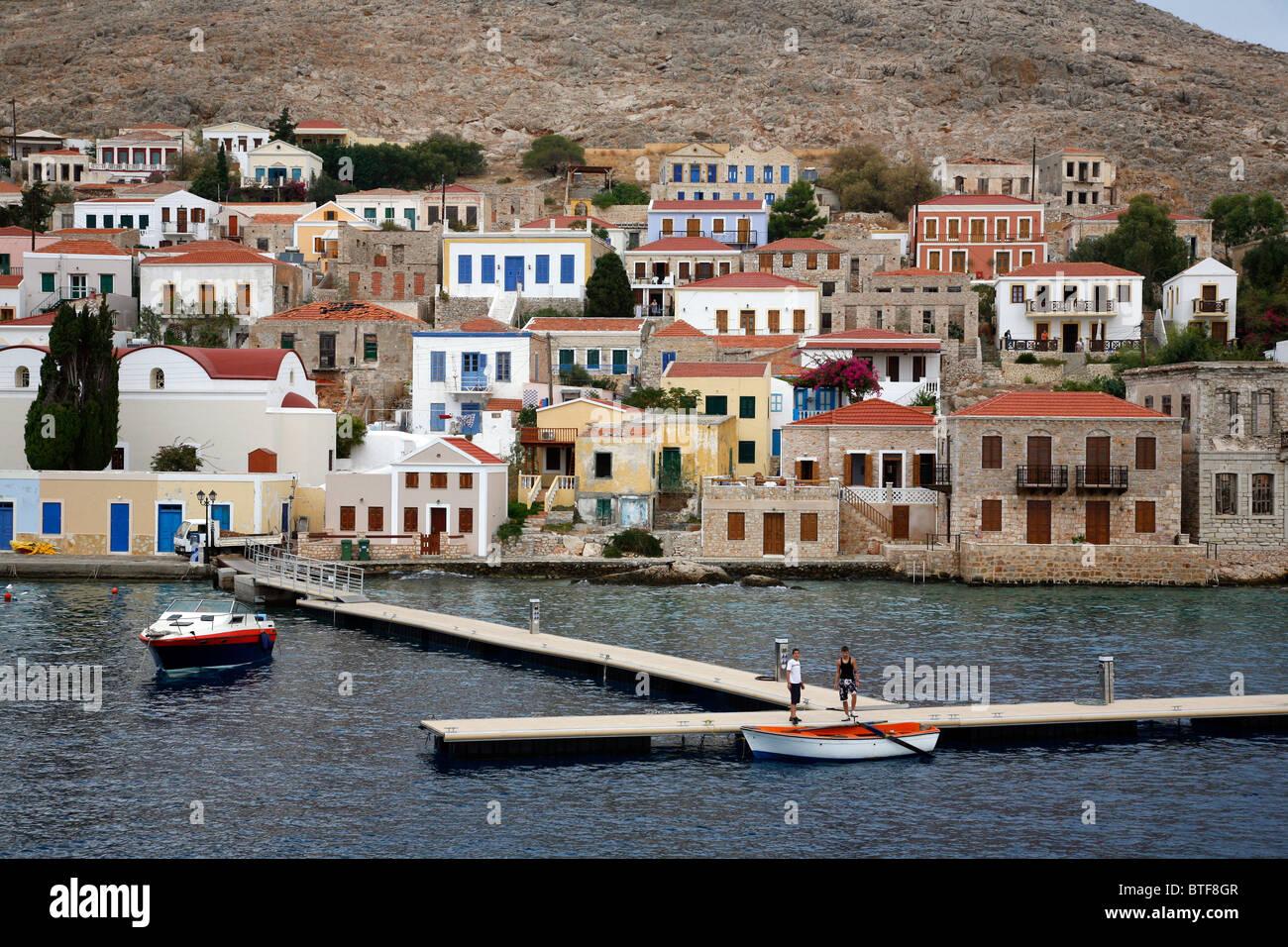 View over the port village Emborios, Halki, Greece. - Stock Image