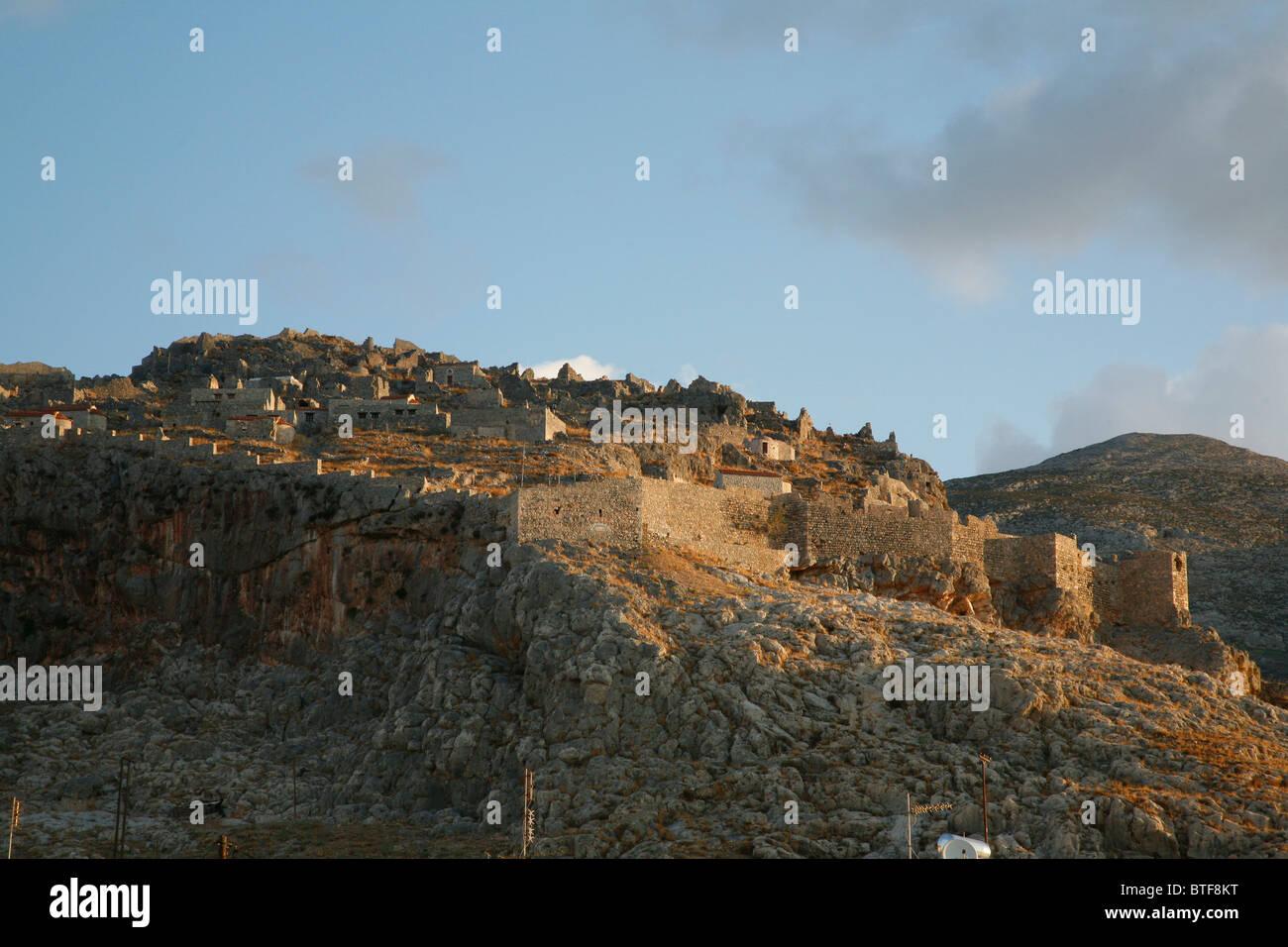 Pera Kastro Castle, Horio, Kalymnos, Greece. - Stock Image