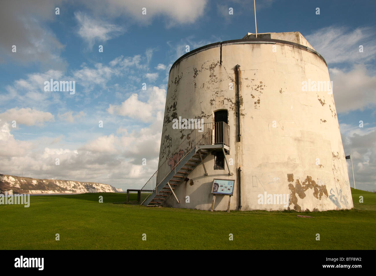 Martello Tower No.3 Folkestone Kent england UK defensive towers built between 1805 and 1808 during the Napoleonic - Stock Image