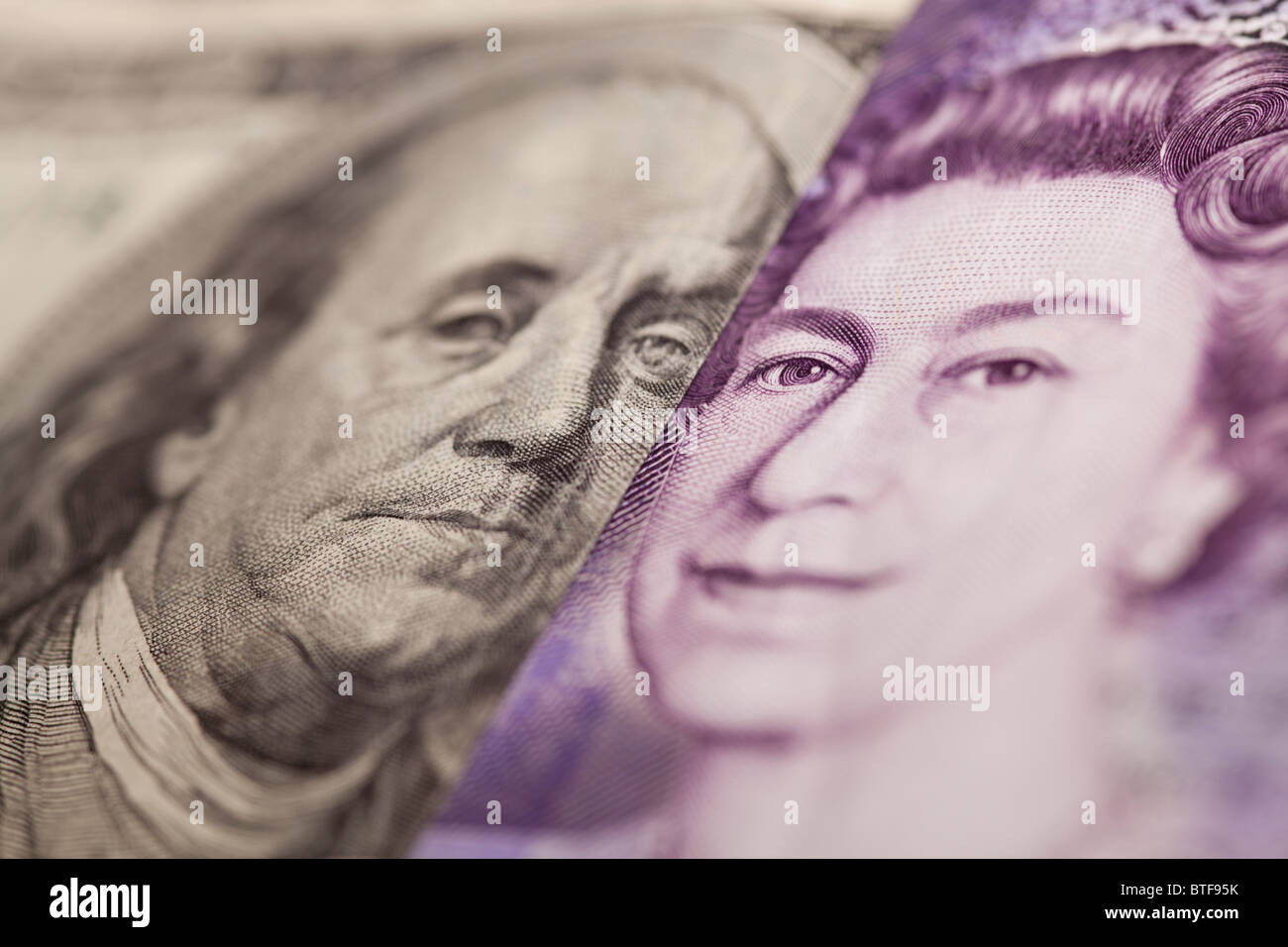 100 dollar note and 20 pound bank note - Stock Image