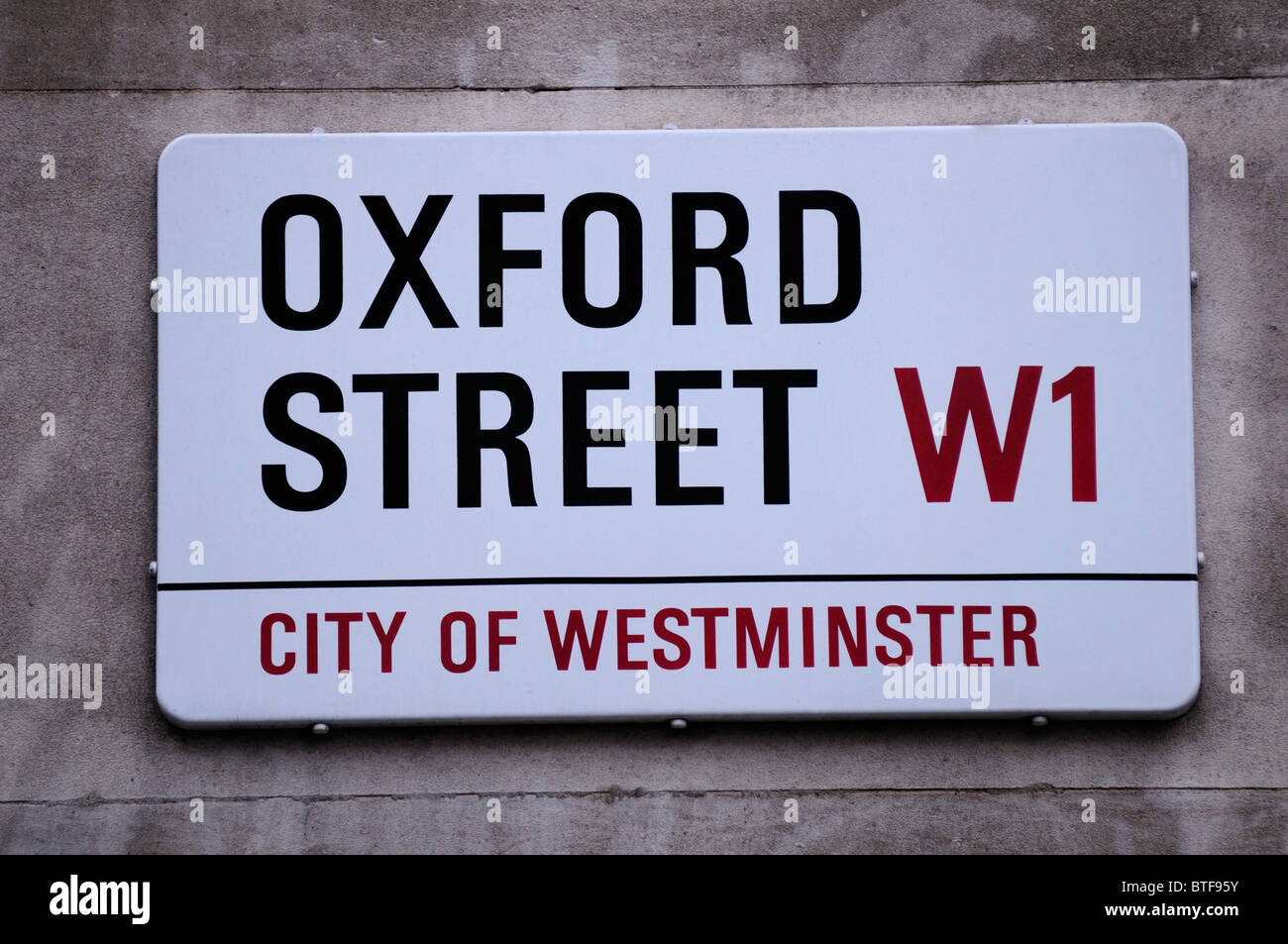 Oxford Street W1 City of Westminster Street Sign, London, England, UK - Stock Image