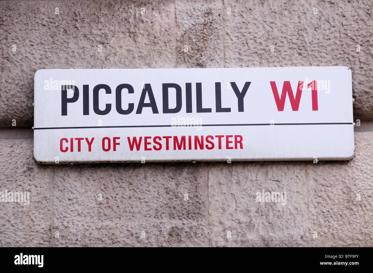 Piccadilly W1 City of Westminster street sign, London, England, UK - Stock Image