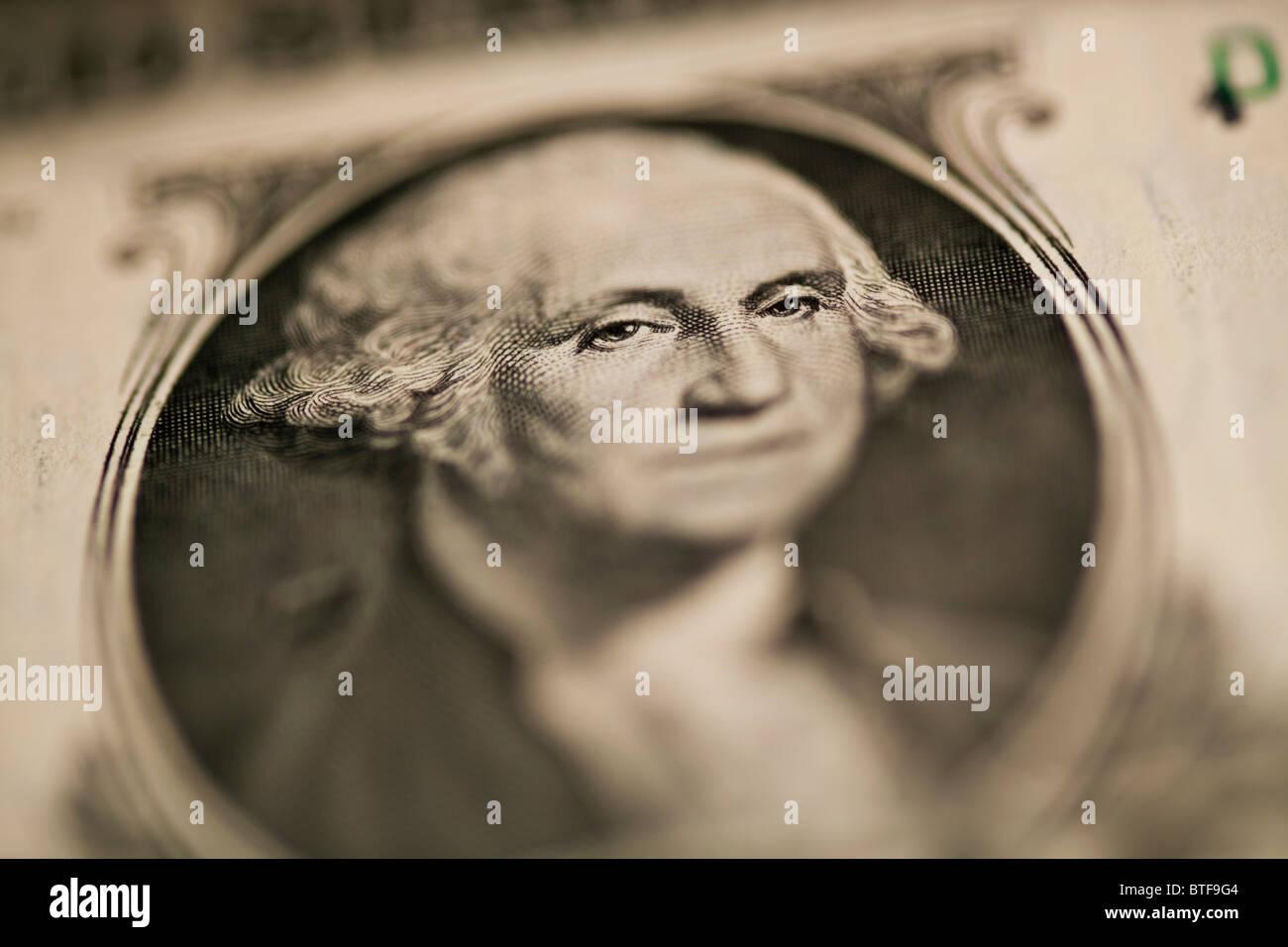 Close up of George Washington on one dollar bill - Stock Image