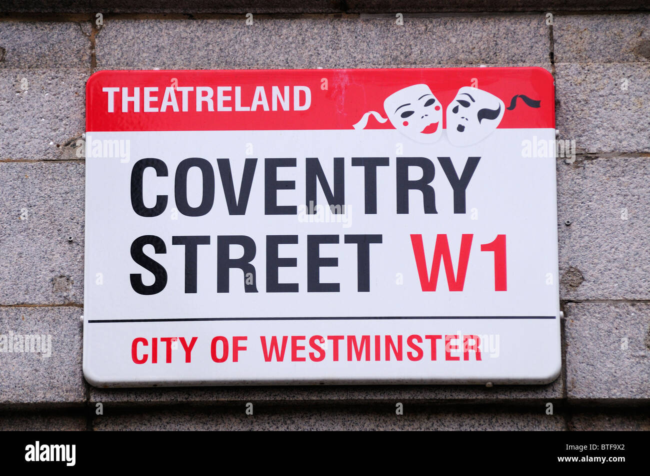 Coventry Street Theatreland Street, Sign, London, England, UK - Stock Image