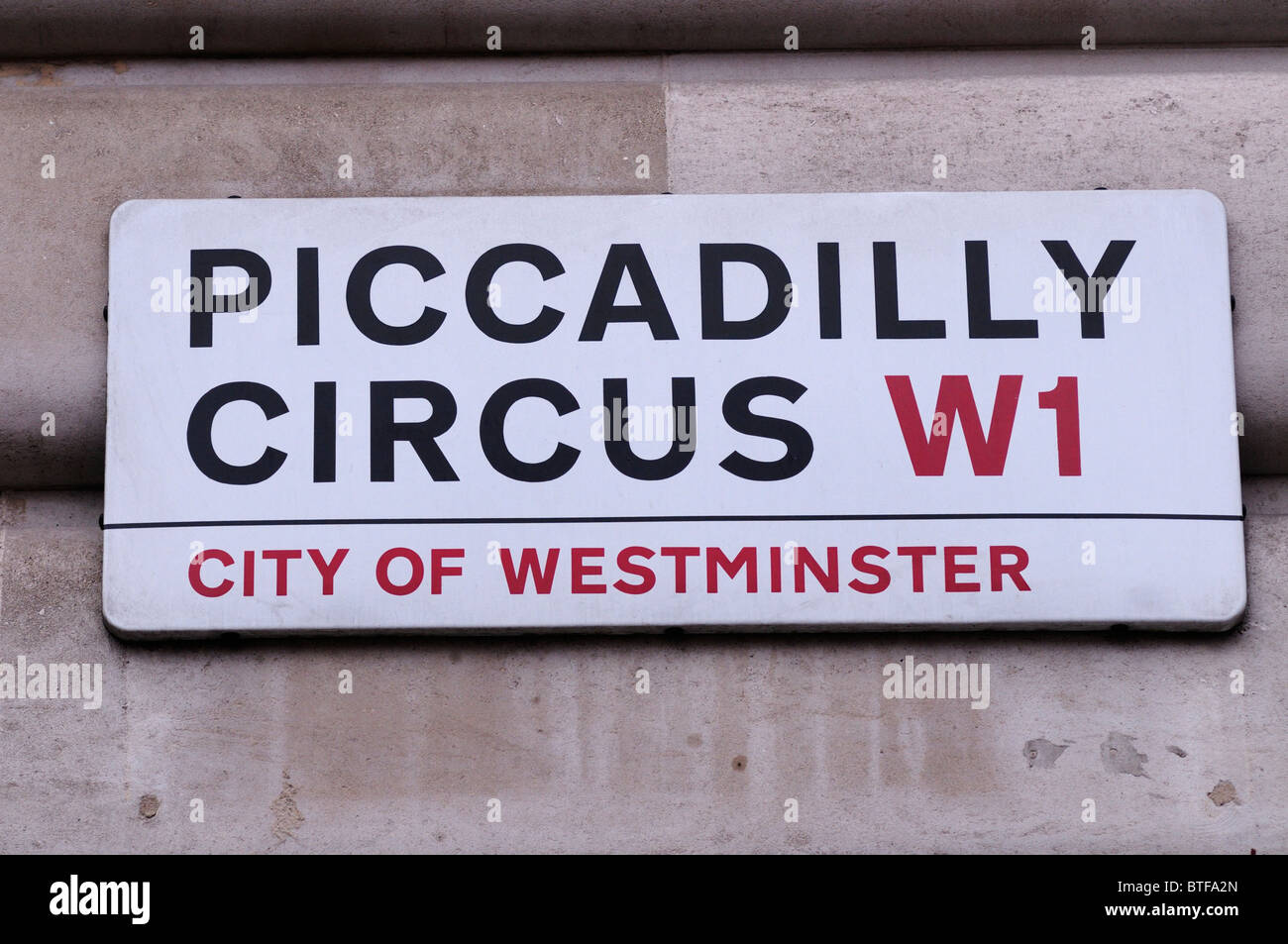 Piccadilly Circus W1 City of Westminster Street Sign, London, England, UK - Stock Image