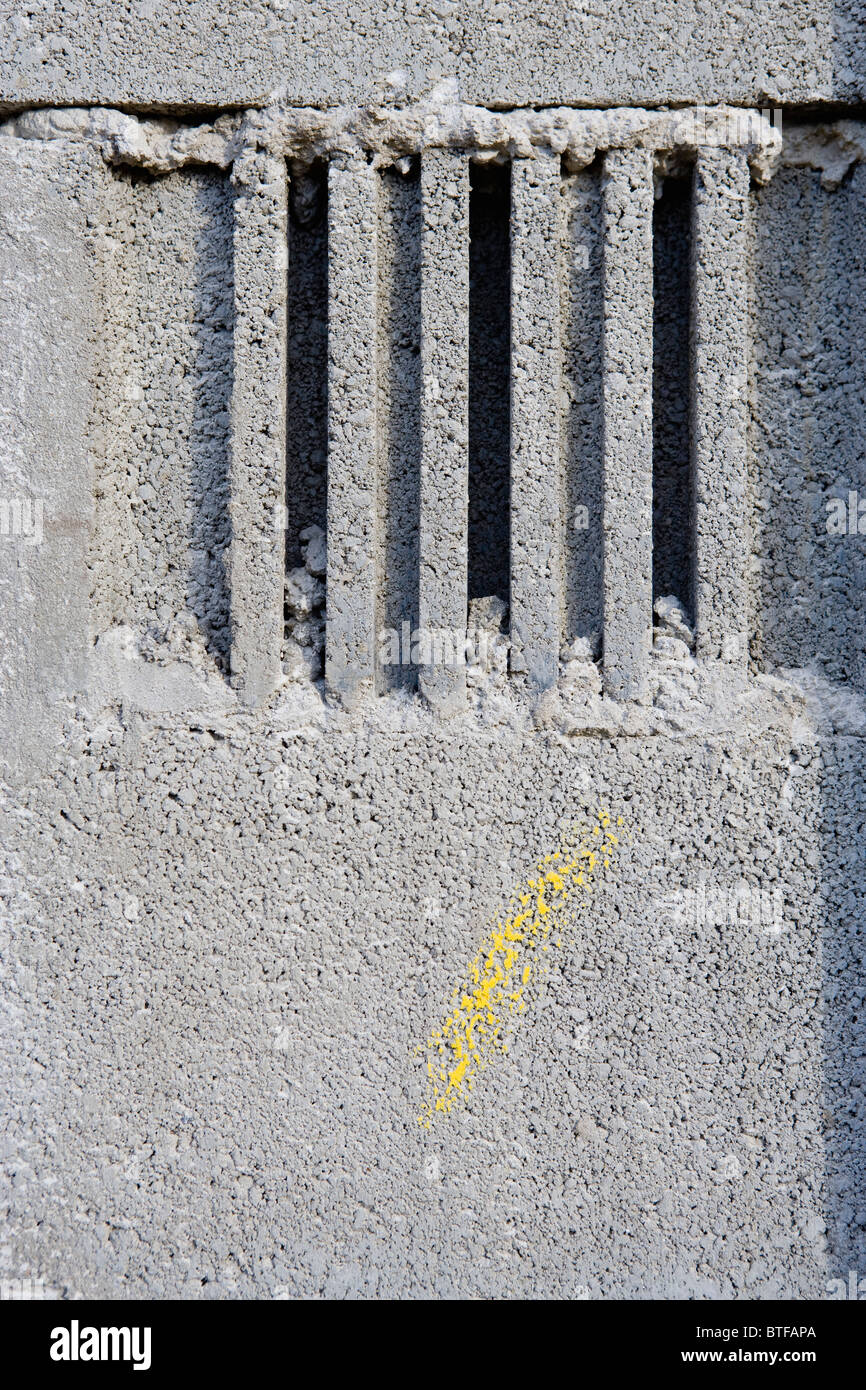 Concrete masonry, close-up - Stock Image