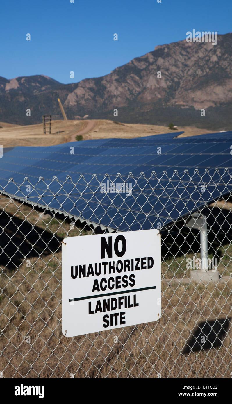 Solar Farm Built on Top of Former Landfill - Stock Image