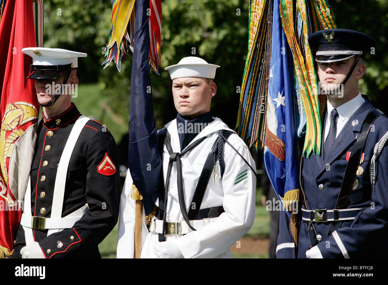 Military officers of the Army, Navy and Airforce form Honor Guard