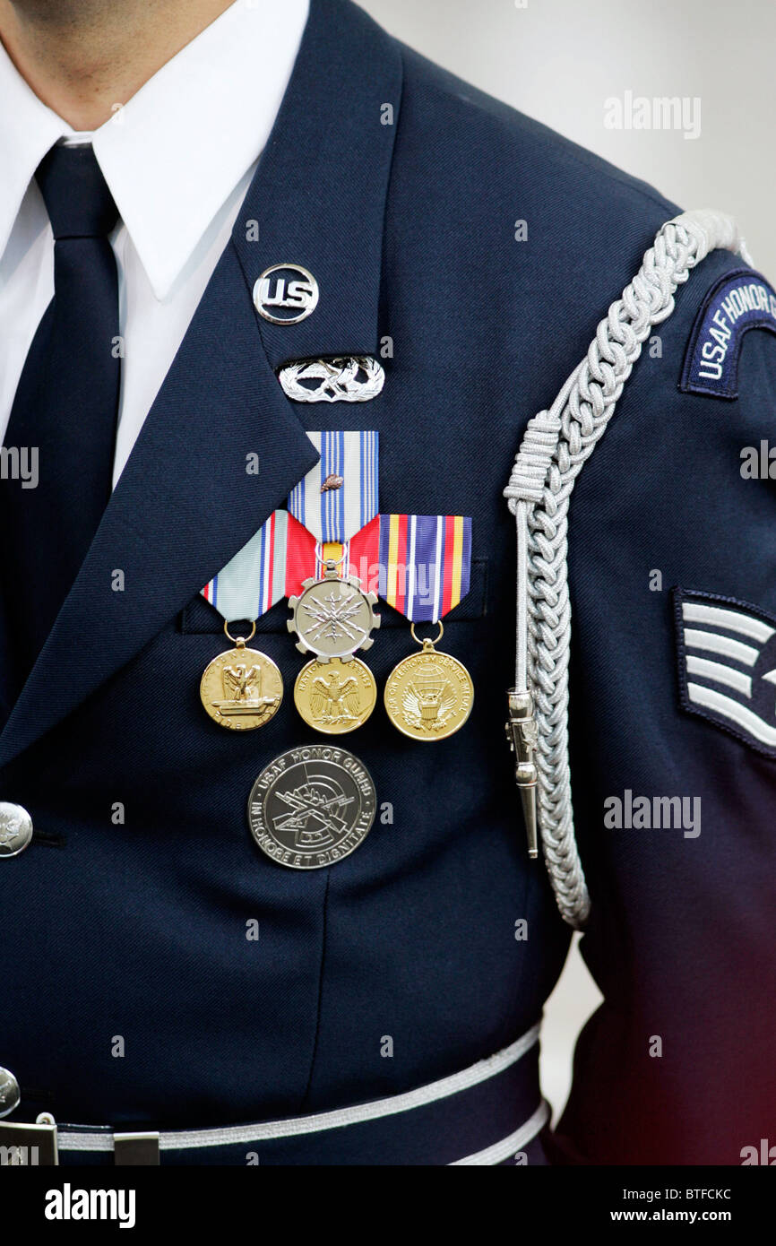 Military officer of United States Airforce Honor Guard at the White House, Washington DC, USA - Stock Image