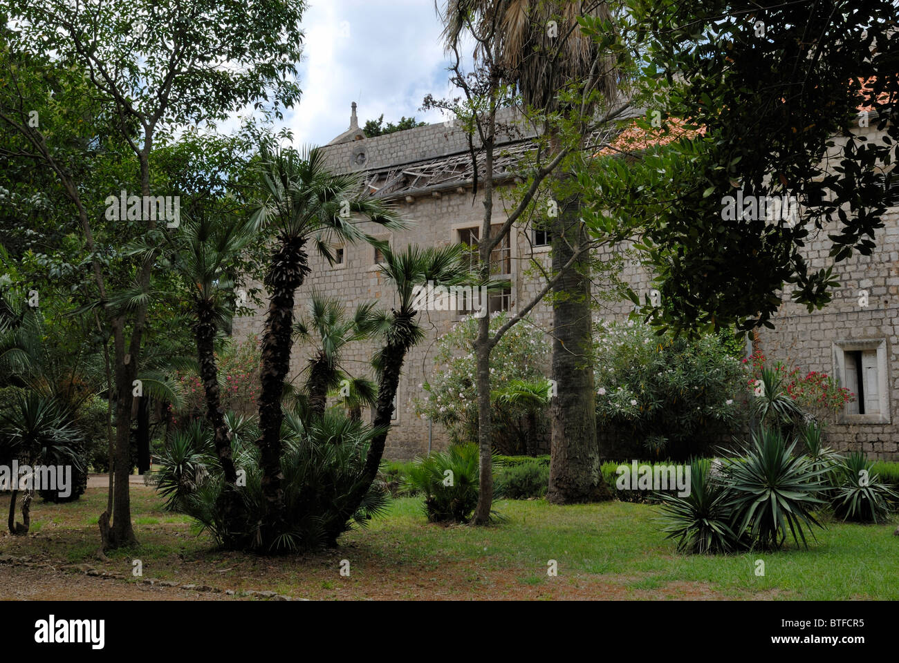 A fine view to the Cloister Garden of the Benedictine Monastery Complex of the Lokrum Island. The Complex consist - Stock Image